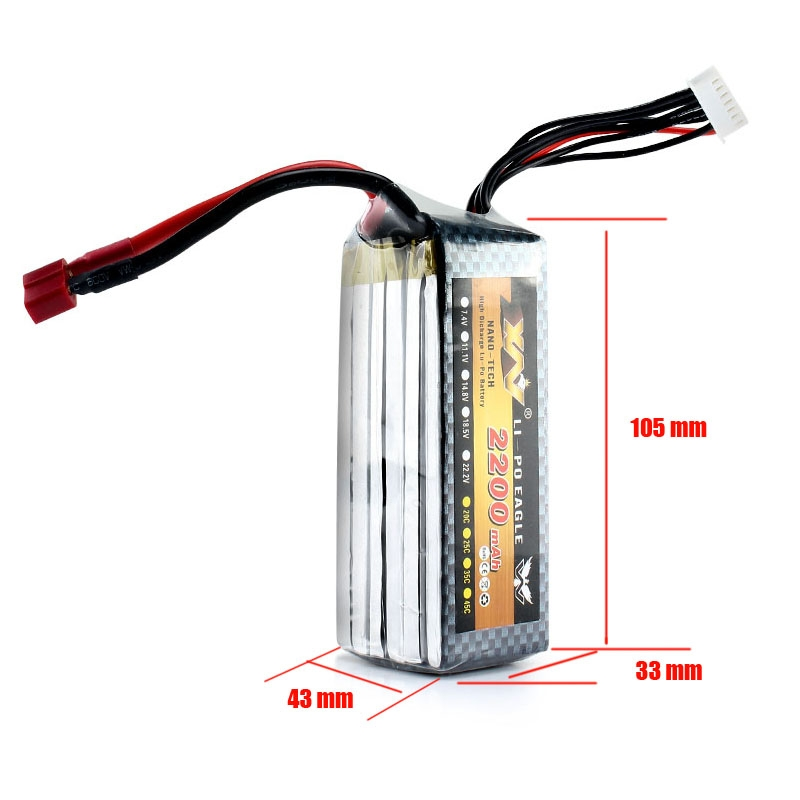 22.2V 2200mAh High Discharge Lithium Polymer Battery For RC Quadcopter