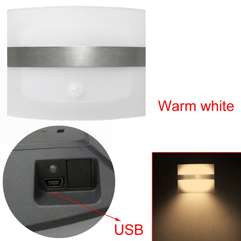 new USB Rechargeable PIR Infrared Motion Sensor LED Wall Light Wardrobe Lamp eBay