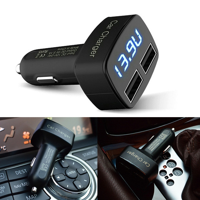 4in1 3.1A Dual USB Car Charger Temperature Ammeter Voltmeter Monitor