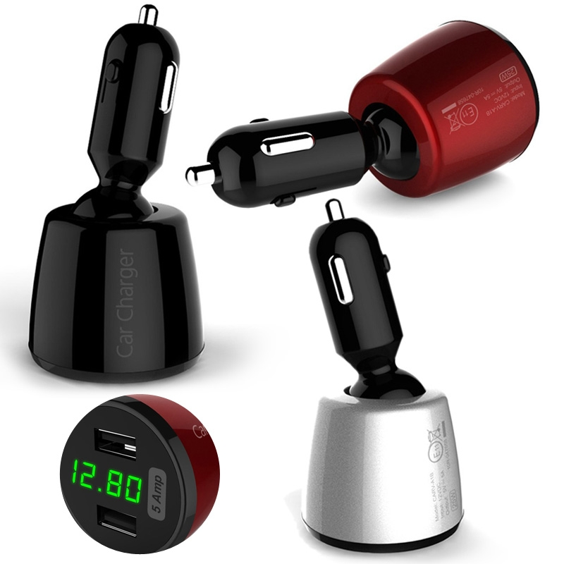 Portable 4 In 1 Dual USB Port Car Charger Adapter For iPhone Samsung iPad