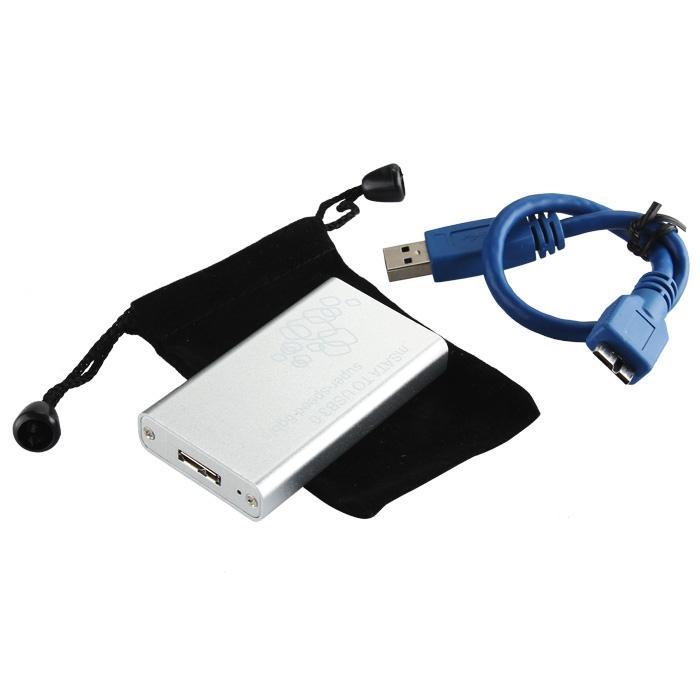 Mini mSATA to USB 3.0 SSD Hard Disk Box External Enclosure Case Silver
