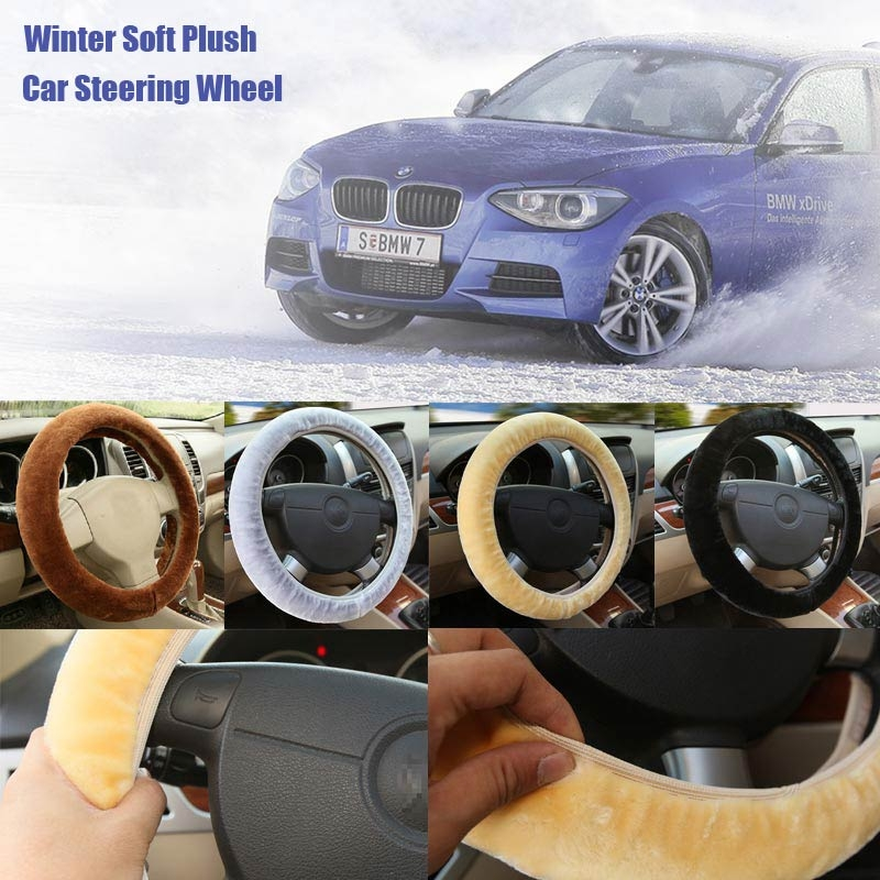 Universal Winter Soft Plush Car Steering Wheel Cover Vehicle Grips Skin