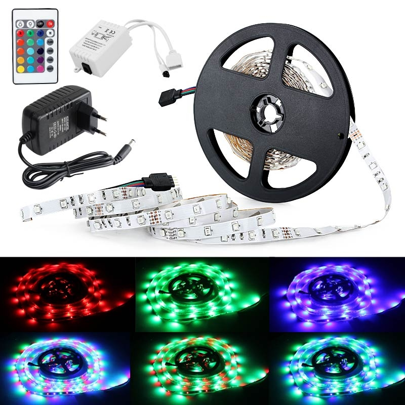 3528SMD RGB 300LED Strip Light W/24 Key Remote Control And EU Power Supply