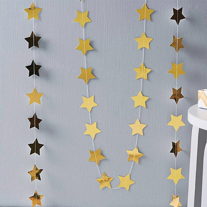 4M Cardboard Stars Hanging Ornaments Christmas Tree Garland Door Decor Gold
