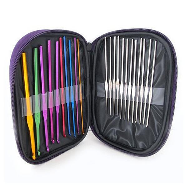 22 PCS Multi Color Aluminum Stainless Steel Crochet Hooks Needles Set
