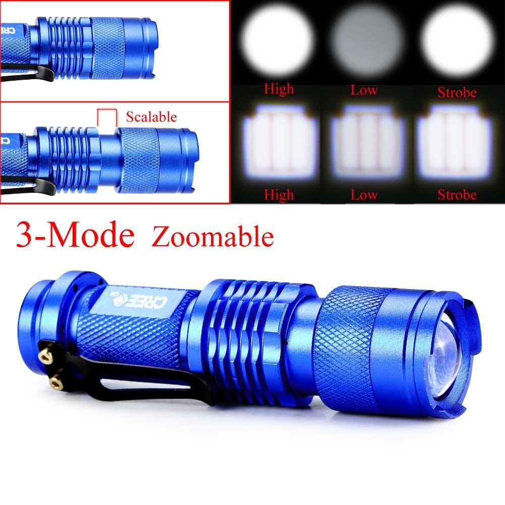 Mini Portable CREE Q5 LED 1200 Lumen Zoomable Flashlight Torch Lamp Blue 3 Modes