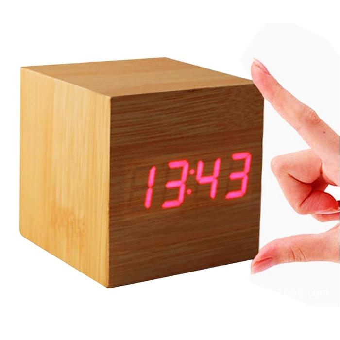 usb sound control wood cube digital led desk alarm clock. Black Bedroom Furniture Sets. Home Design Ideas