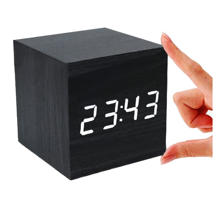 wooden cube digital led desk table alarm clock thermometer. Black Bedroom Furniture Sets. Home Design Ideas