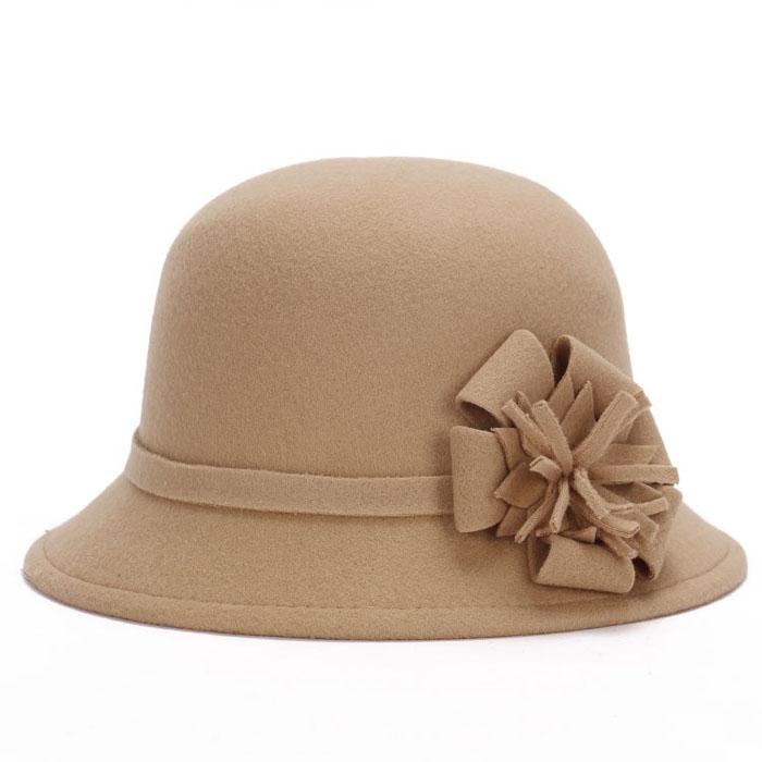 women winter cloche bucket wool flower bucket hat lady