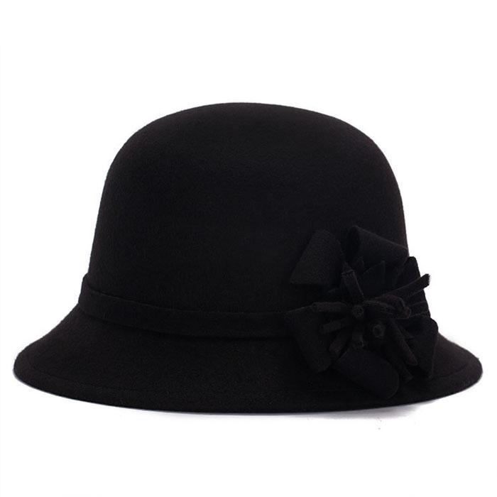 Women Winter Cloche Bucket Wool Flower Bucket Hat Lady ...