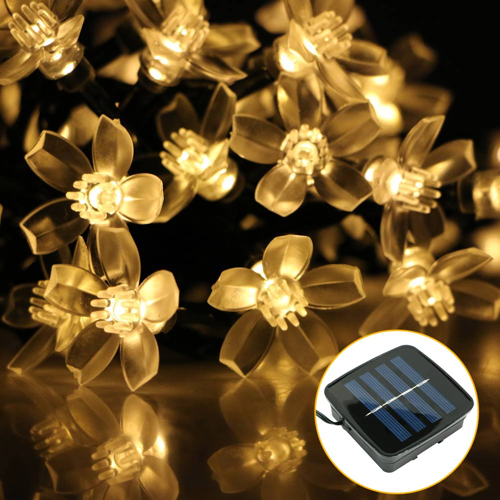 Mini Solar Powered 50LED Blossom Fairy String Light Lamp
