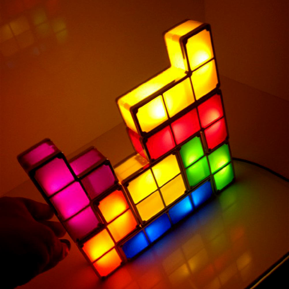 tetris diy stackable retro game style led night light desk lamp ebay. Black Bedroom Furniture Sets. Home Design Ideas