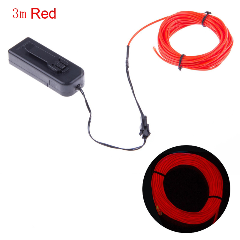 Flexible Neon LED Light EL Wire Strip Rope Tube for Car Dance Party +Controller