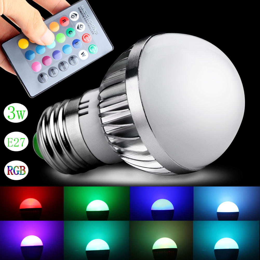 3w e27 gu10 led rgb magic spot light bulb lamp with 24 key ir remote controller. Black Bedroom Furniture Sets. Home Design Ideas