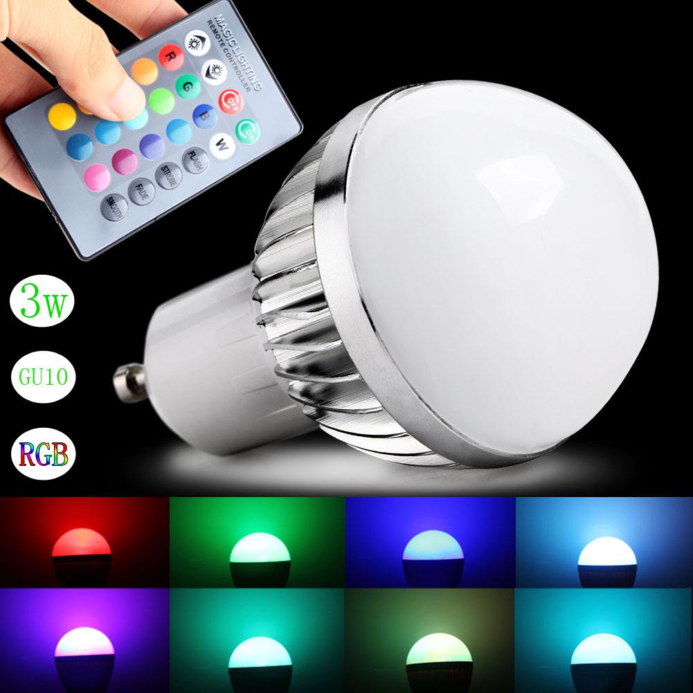 3w rgb led lampe lampe 16 farben mit 24 schl ssel fernbedienung ndern ebay. Black Bedroom Furniture Sets. Home Design Ideas