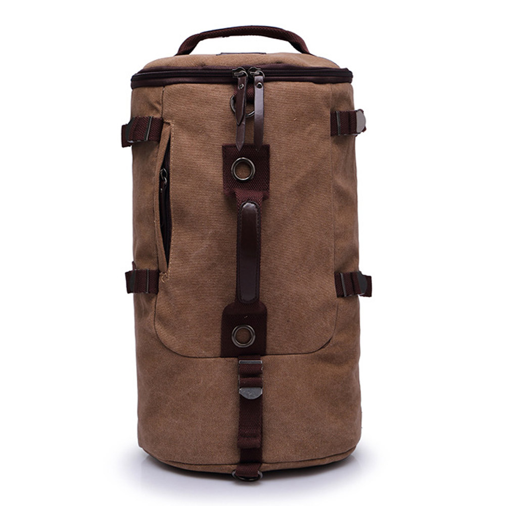 men vintage canvas backpack rucksack laptop shoulder. Black Bedroom Furniture Sets. Home Design Ideas