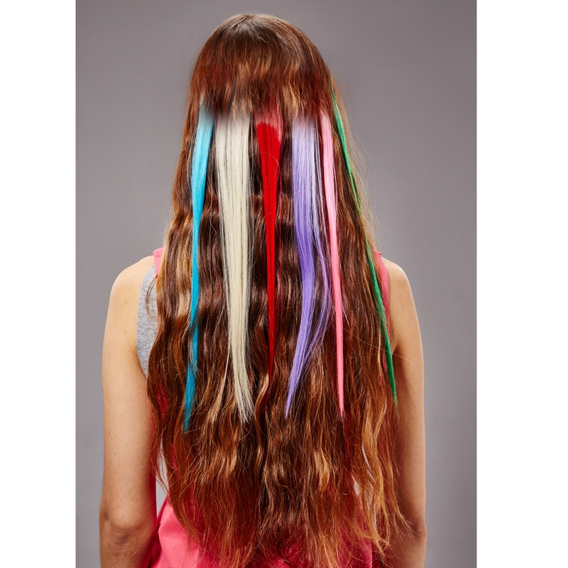 Highlight 50cm Single Clip in Hair Extension Piece Streak Colored Hair