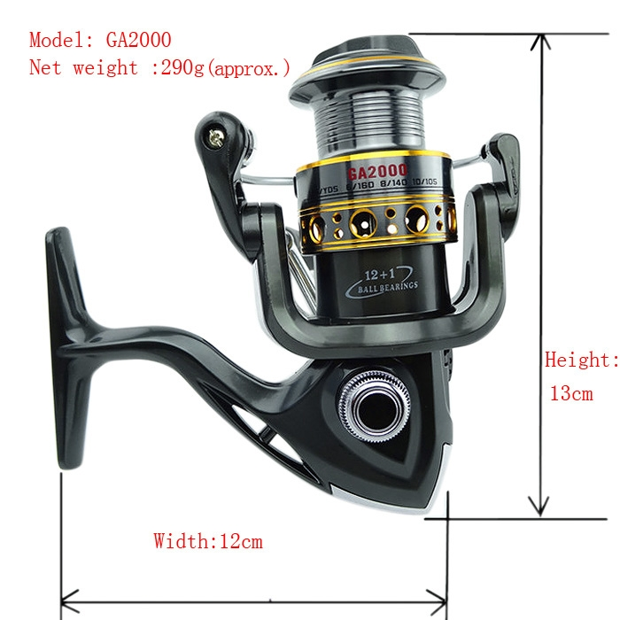 New 12BB+1RB Duplex Bearing Fishing Spinning Reel Anti-reverse GA Series