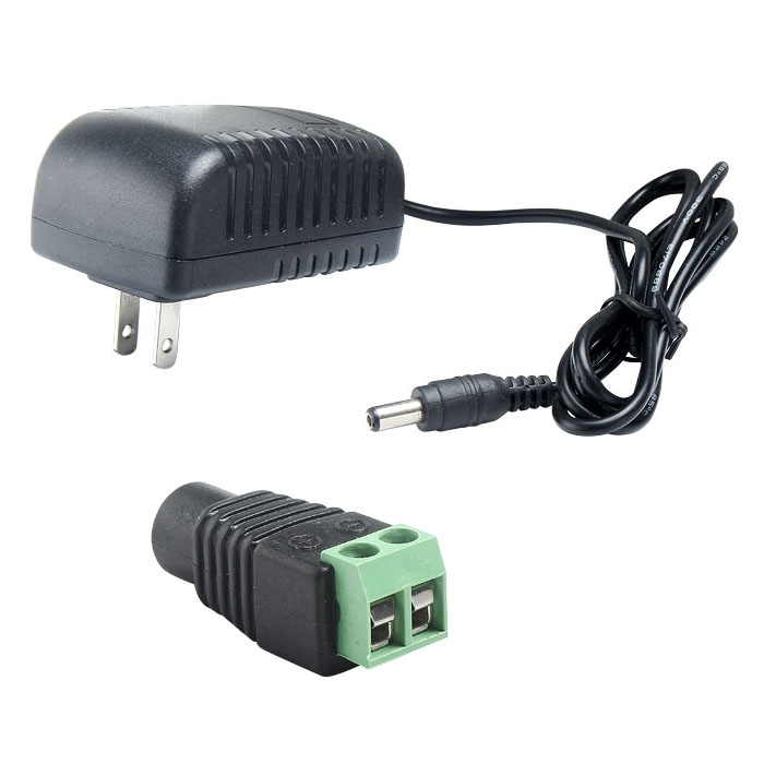 AC100-240V To DC 12V EU/US Power Adapter+Female Connector for LED Light