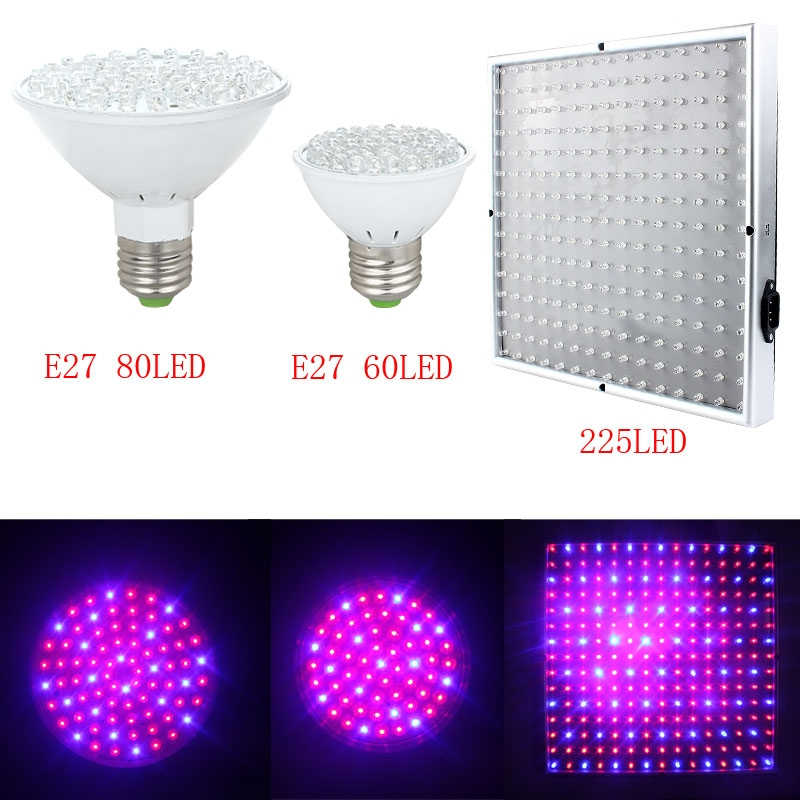 60/80/225 LED Red Blue Hydroponic Plant Grow Light Practical Super Bright