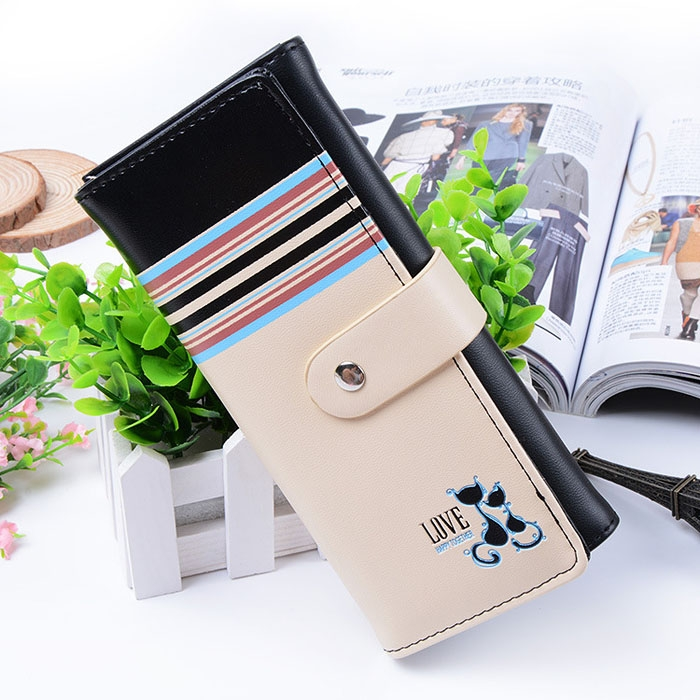 Women Cute Cats Print Leather Wallet Card Holder Flap Buckle Closure