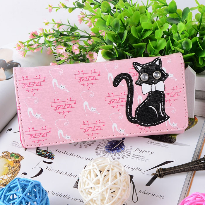 Fashion Lovely Cat and Music Score Print Women Wallet PU Card Holder