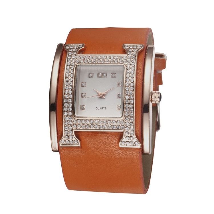 Fashion Lady Women's 'H'Shaped Case Wide Leather Strap Quartz Watch Gift