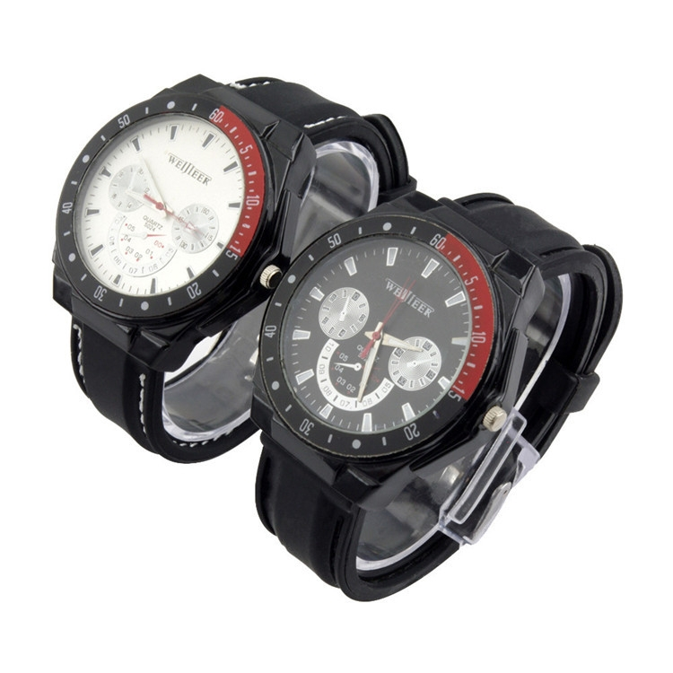 Cool and Elegant Men Women's Black Silicone Strap Quartz Chronograph Watch