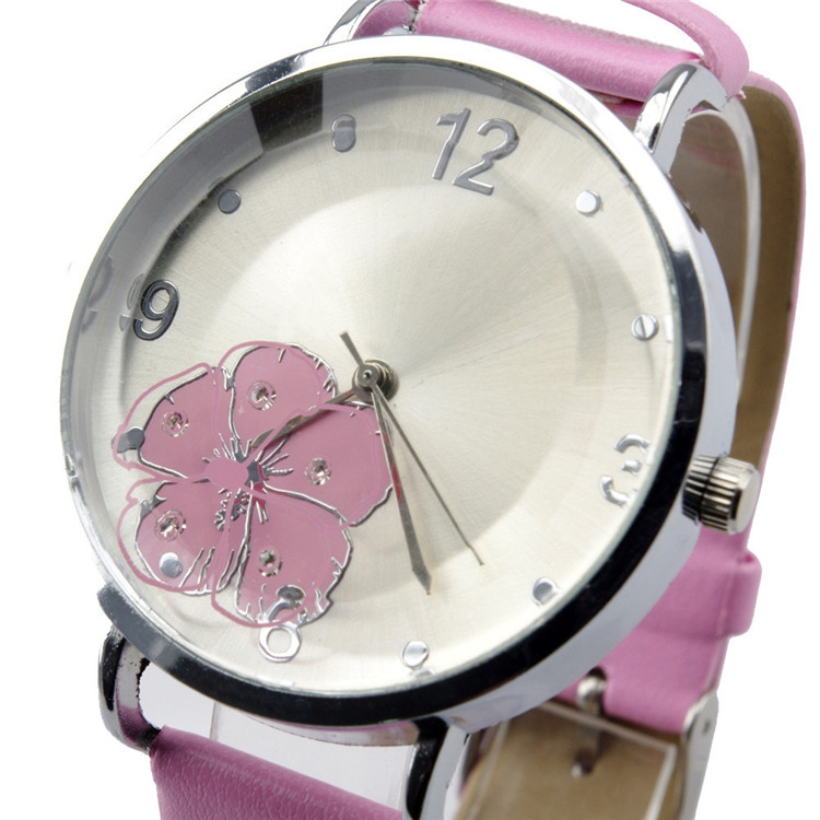 Ladies Girls'Round Floral Quartz Fashion Dress Bracelet Leather Watch