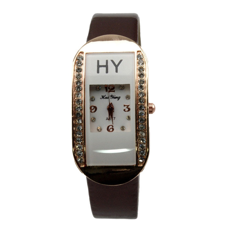 Trendy Lady Girls' Square Rhinestone-Accented Leather Bracelet Watch