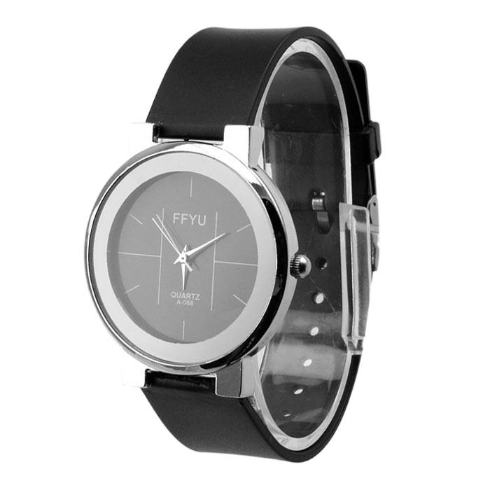Classic Lovers Women Men Casual Quartz Movement Black Strap Watch Gift