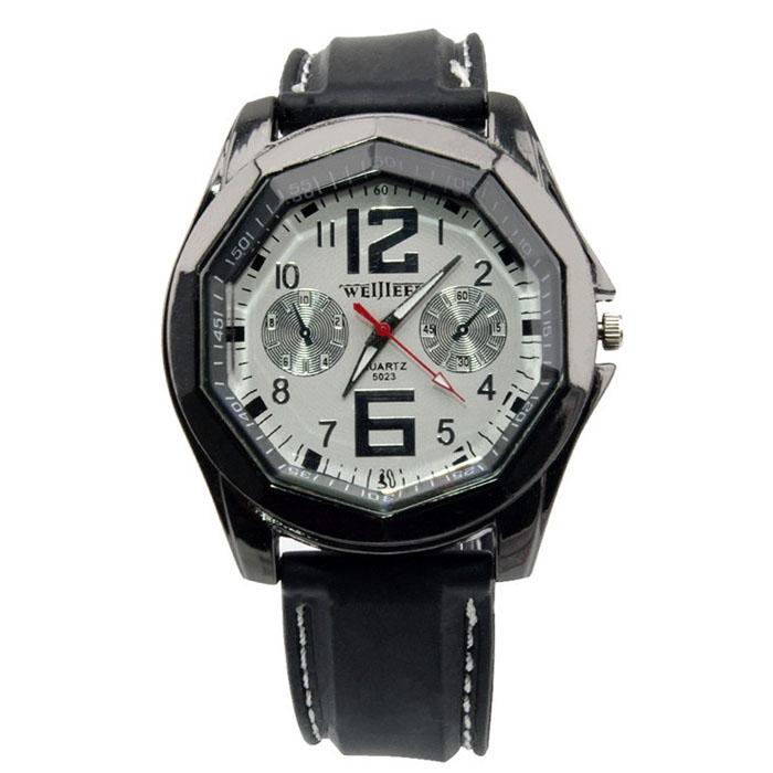 Unisex Sport Bracelet Wristwatch Silicone Strap Polygon Dial Quartz Watch
