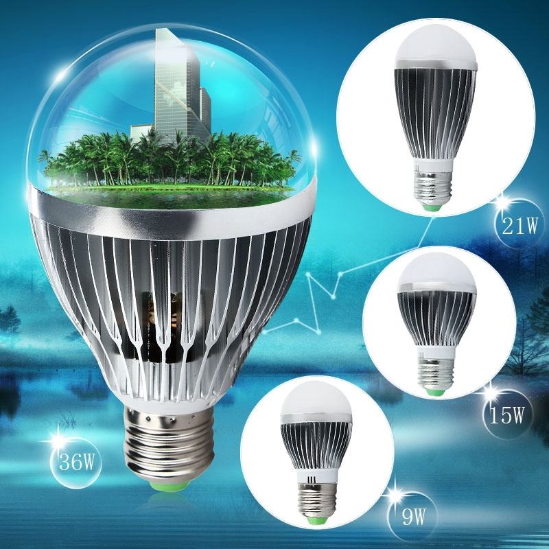 9W/15W/21W/36W Super Bright Silver tone E27 LED Globe Bulb Warm/Cool White