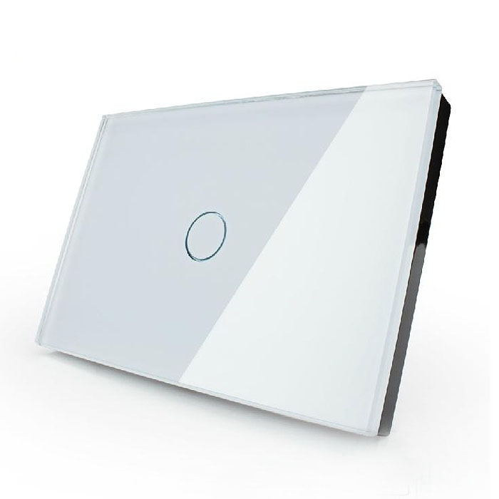 White Home Smart Rectangle Glass Panel Touch Wall Switch 1 Way 1Gang