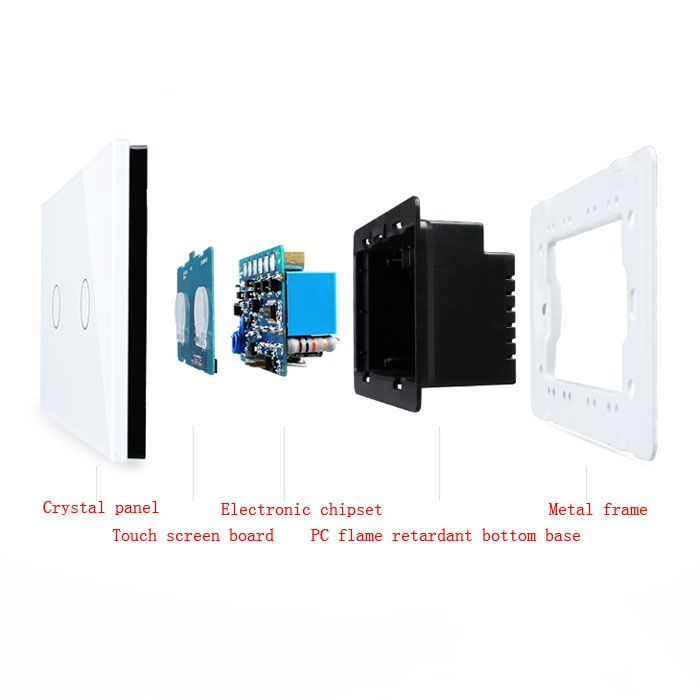 White Home Smart Rectangle Glass Panel Touch Wall Switch 1 Way 2 Gangs