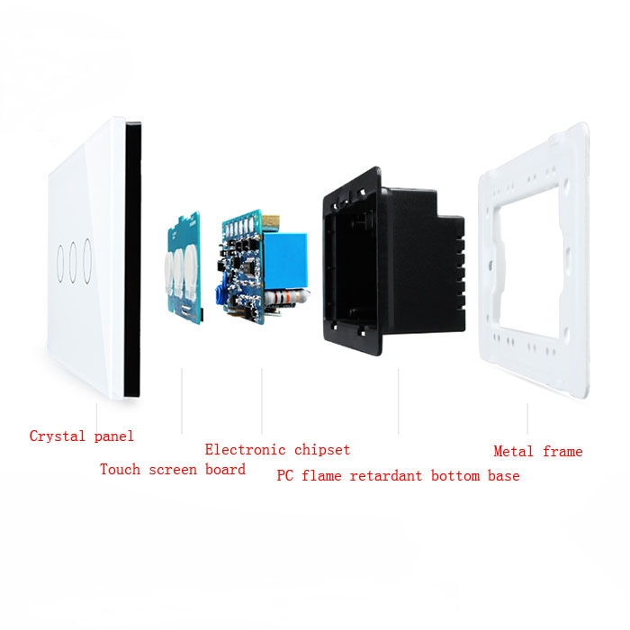 White Home Smart Rectangle Glass Panel Touch Wall Switch 1 Way 3 Gangs