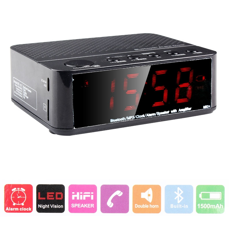 Portable Wireless Desktop LED Display Bluetooth Alarm Clock HiFi Speaker