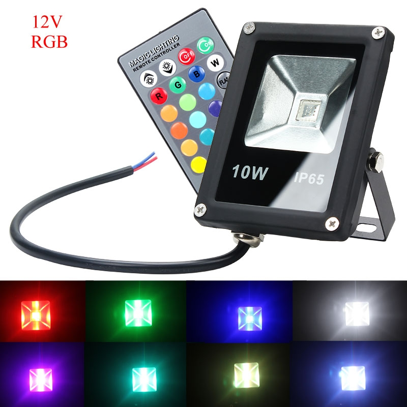 10W Waterproof IP65 Outdoor RGB Flat LED Flood Light Lamp