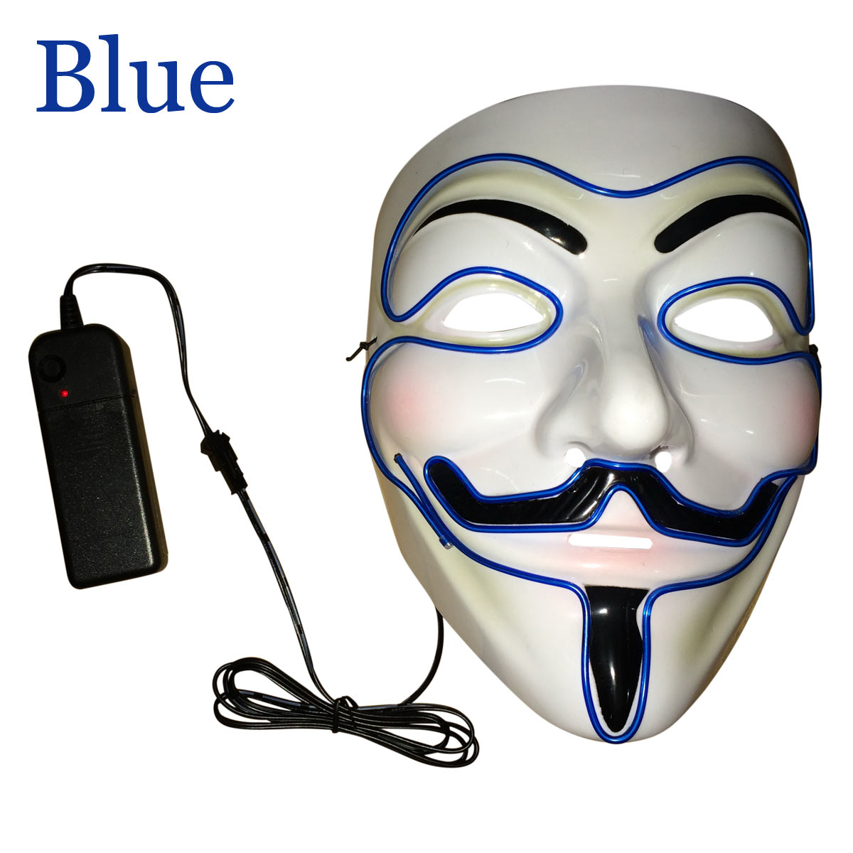 El Wire Light Up LED Guy Fawkes Costume Cosplay Mask Halloween Xmas ...