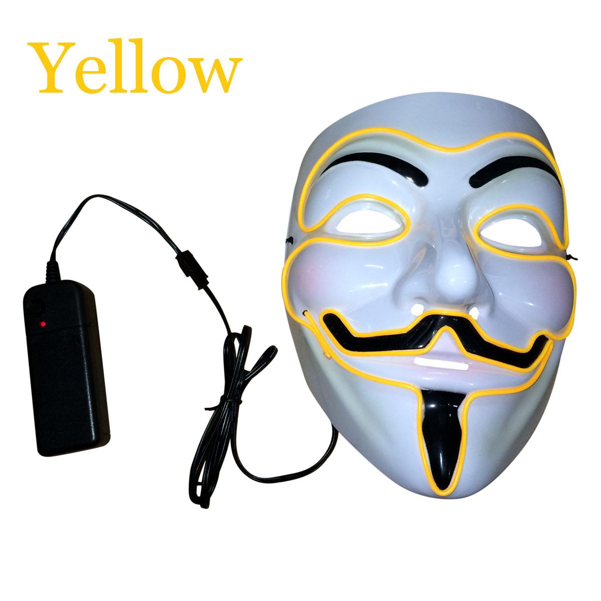 9 Color Light Up LED Guy Fawkes For Vendetta Mask EL Wire Mask EDM ...