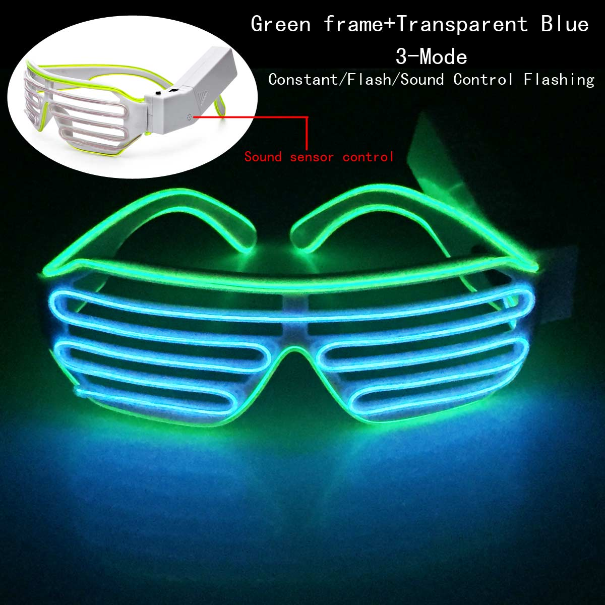 Sound Control EL Wire LED Shutter Sunglasses Light Up Flashing ...