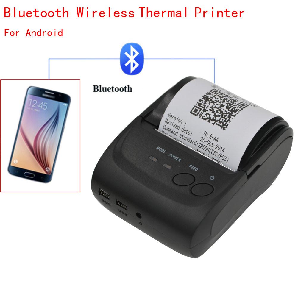 Mini Wireless 58mm Portable Bluetooth Thermal Printer