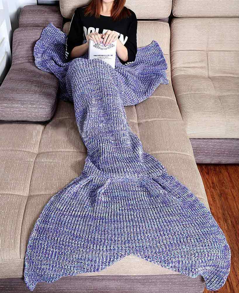 gem tliche warme weiche stricken mermaid tail decke fischschwanz sofa schlafsack ebay. Black Bedroom Furniture Sets. Home Design Ideas