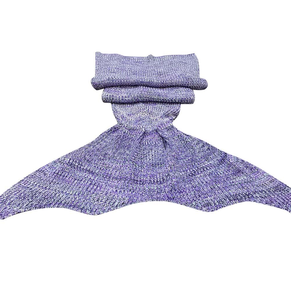 Ultra Soft Crocheted Mermaid Tail Blanket+Knitting kids&Adult Sofa Sleepi...