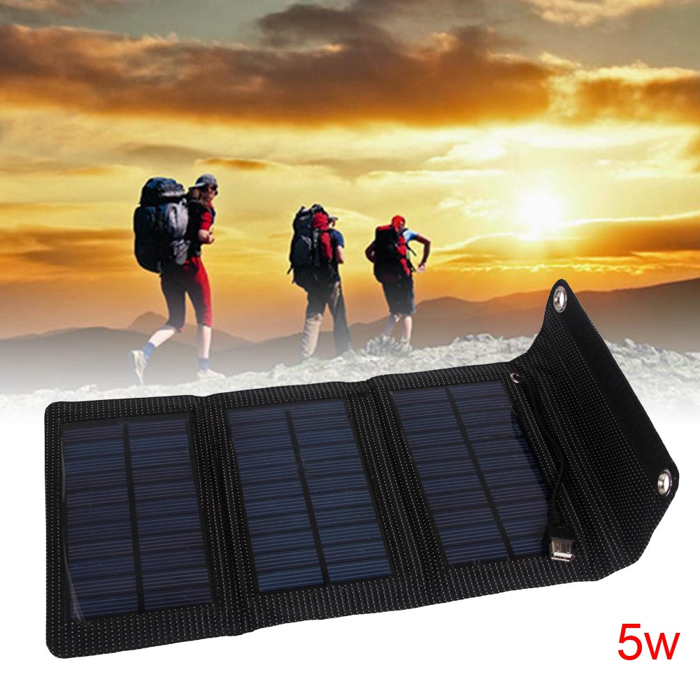 Folding Solar Power Charger Panel Bag For Camping Driving Phone Battery Charger