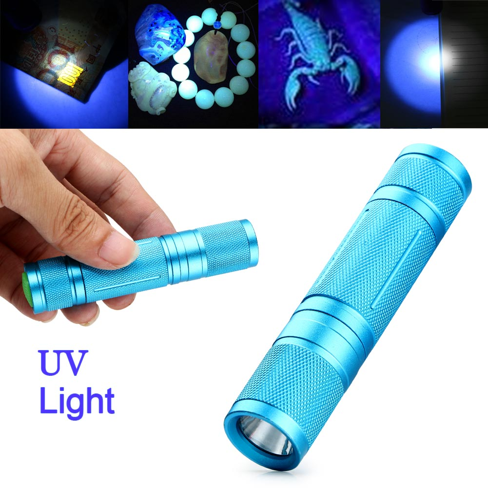 led uv flashlight 365nm purple ultra violet light torch blacklight lamp aa new. Black Bedroom Furniture Sets. Home Design Ideas