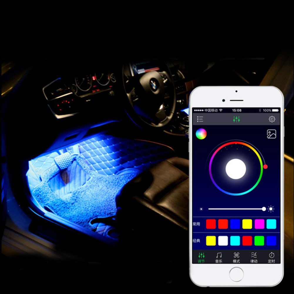 12led rgb car interior decoration atmosphere light strip w mobile app control ebay. Black Bedroom Furniture Sets. Home Design Ideas