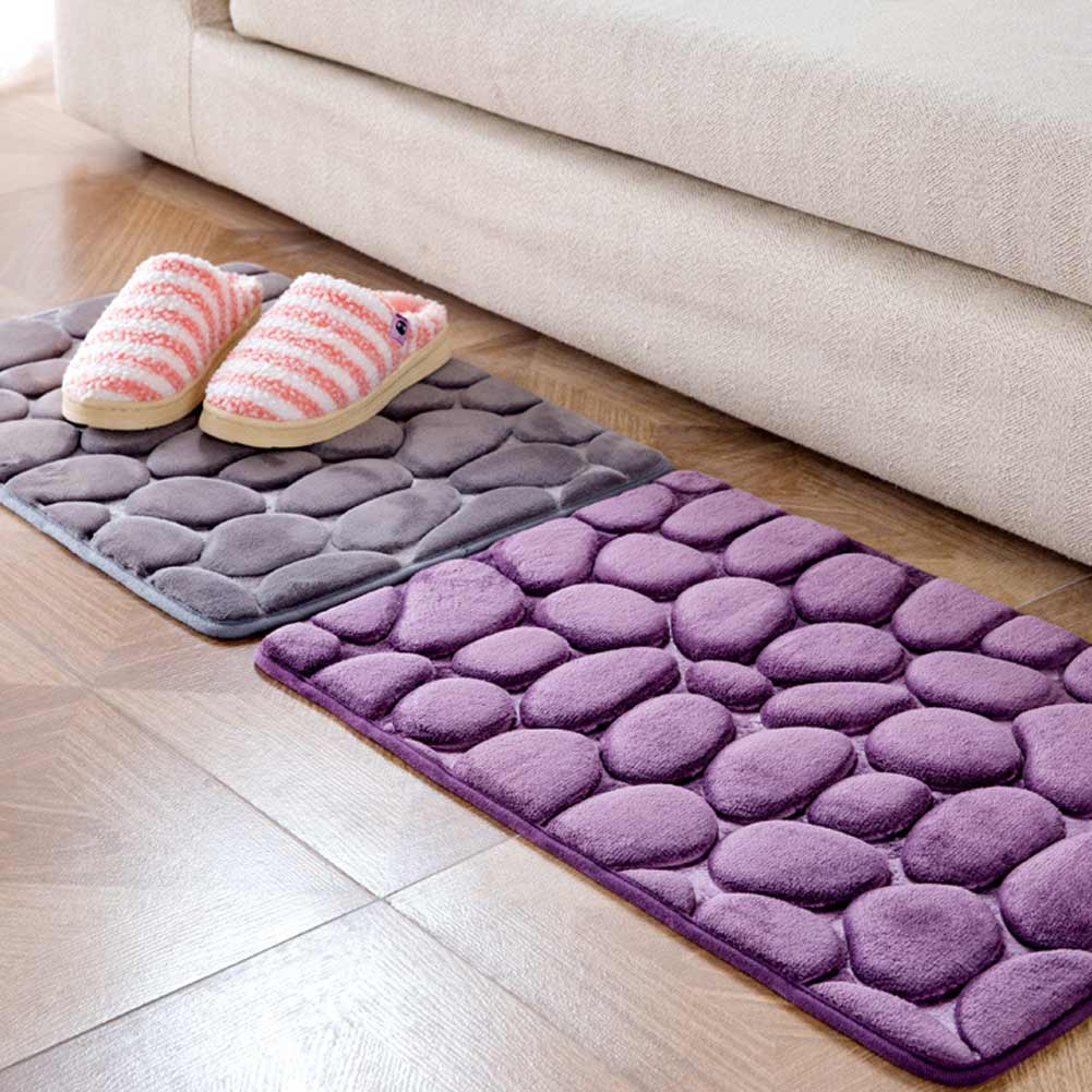 Memory Foam Rugs For Living Room Memory Foam Pebbles Rock Bath Rug 60x40cm Non Slip Microfiber Bath