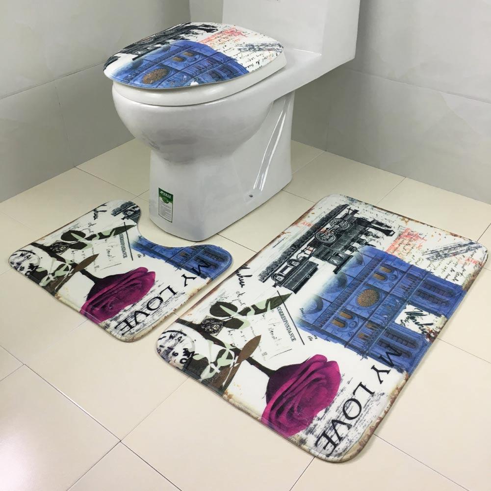 3pcs Deckel WC Sitz Deckel Sockel Teppich Bad Matte