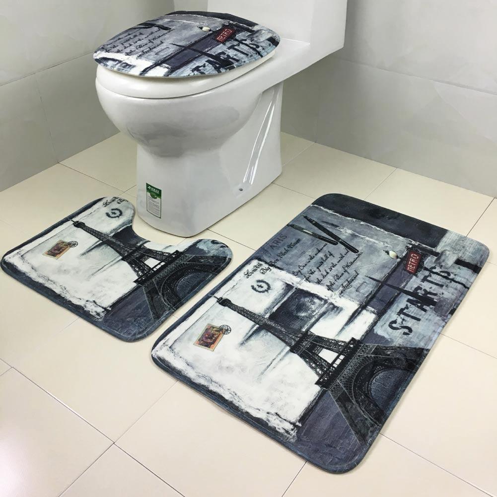 3pcs deckel wc sitz deckel sockel teppich bad matte. Black Bedroom Furniture Sets. Home Design Ideas